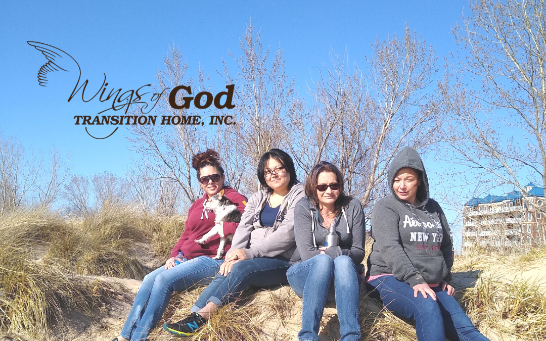 Pearl Residents from Wings of God Transition Home for Women visiting Silver Beach in St. Joseph, MI